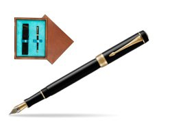 Parker Duofold Classic Black International GT Fountain Pen  single wooden box  Mahogany Single Turquoise