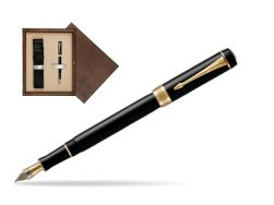Parker Duofold Classic Black International GT Fountain Pen  single wooden box  Wenge Single Ecru