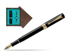 Parker Duofold Classic Black International GT Fountain Pen  single wooden box  Wenge Single Turquoise