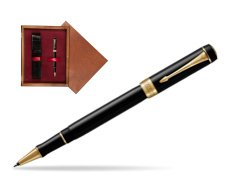 Parker Duofold Classic Black GT Rollerball Pen  single wooden box Mahogany Single Maroon