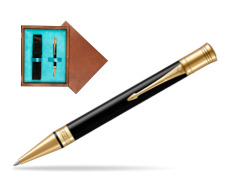 Parker Duofold Classic Black GT Ballpoint Pen  single wooden box  Mahogany Single Turquoise