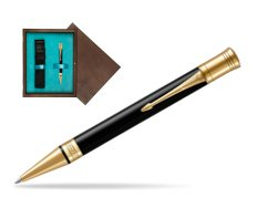 Parker Duofold Classic Black GT Ballpoint Pen  single wooden box  Wenge Single Turquoise