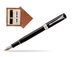 Parker Duofold Classic Black International CT Fountain Pen  single wooden box  Mahogany Single Ecru