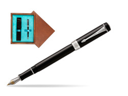 Parker Duofold Classic Black International CT Fountain Pen  single wooden box  Mahogany Single Turquoise
