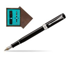 Parker Duofold Classic Black International CT Fountain Pen  single wooden box  Wenge Single Turquoise