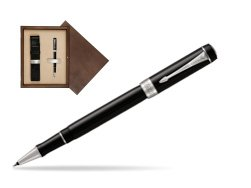 Parker Duofold Classic Black CT Rollerball Pen  single wooden box  Wenge Single Ecru