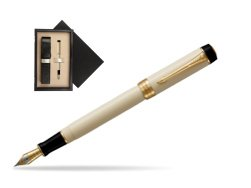 Parker Duofold Classic Ivory & Black Centennial GT Fountain Pen  single wooden box  Wenge Single Ecru