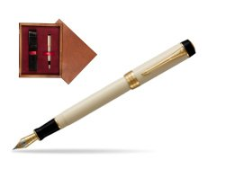 Parker Duofold Classic Ivory & Black Centennial GT Fountain Pen  single wooden box Mahogany Single Maroon