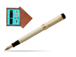Parker Duofold Classic Ivory & Black Centennial GT Fountain Pen  single wooden box  Mahogany Single Turquoise