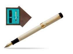Parker Duofold Classic Ivory & Black Centennial GT Fountain Pen  single wooden box  Wenge Single Turquoise