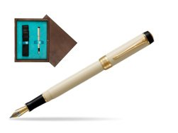 Parker Duofold Classic Ivory & Black International GT Fountain Pen  single wooden box  Wenge Single Turquoise