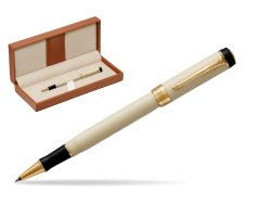 Parker Duofold Classic Ivory & Black GT Rollerball Pen  in classic box brown