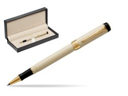 Parker Duofold Classic Ivory & Black GT Rollerball Pen  in classic box  pure black