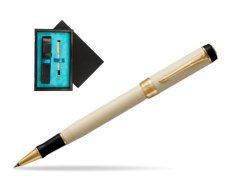 Parker Duofold Classic Ivory & Black GT Rollerball Pen  single wooden box  Black Single Turquoise
