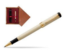 Parker Duofold Classic Ivory & Black GT Rollerball Pen  single wooden box Mahogany Single Maroon
