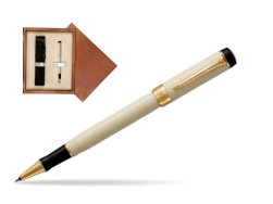 Parker Duofold Classic Ivory & Black GT Rollerball Pen  single wooden box  Mahogany Single Ecru