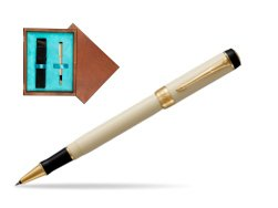 Parker Duofold Classic Ivory & Black GT Rollerball Pen  single wooden box  Mahogany Single Turquoise