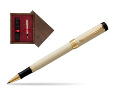Parker Duofold Classic Ivory & Black GT Rollerball Pen  single wooden box  Wenge Single Maroon