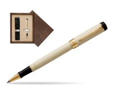 Parker Duofold Classic Ivory & Black GT Rollerball Pen  single wooden box  Wenge Single Ecru
