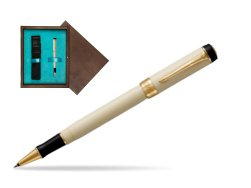 Parker Duofold Classic Ivory & Black GT Rollerball Pen  single wooden box  Wenge Single Turquoise