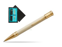 Parker Duofold Classic Ivory & Black GT Ballpoint Pen  single wooden box  Black Single Turquoise