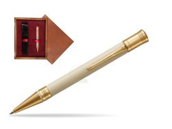 Parker Duofold Classic Ivory & Black GT Ballpoint Pen  single wooden box Mahogany Single Maroon