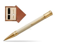 Parker Duofold Classic Ivory & Black GT Ballpoint Pen  single wooden box  Mahogany Single Ecru