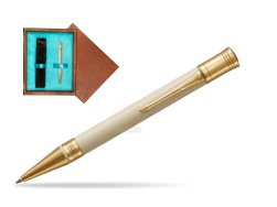 Parker Duofold Classic Ivory & Black GT Ballpoint Pen  single wooden box  Mahogany Single Turquoise
