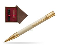 Parker Duofold Classic Ivory & Black GT Ballpoint Pen  single wooden box  Wenge Single Maroon