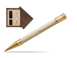 Parker Duofold Classic Ivory & Black GT Ballpoint Pen  single wooden box  Wenge Single Ecru