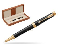 Parker Premier Black Lacquer GT Ballpoint Pen  in classic box brown