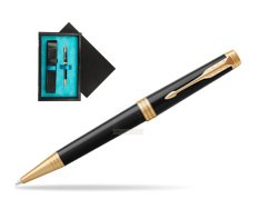 Parker Premier Black Lacquer GT Ballpoint Pen  single wooden box  Black Single Turquoise