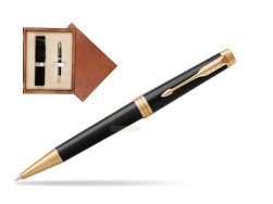 Parker Premier Black Lacquer GT Ballpoint Pen  single wooden box  Mahogany Single Ecru