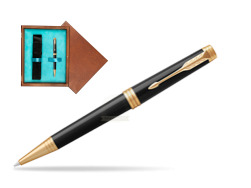 Parker Premier Black Lacquer GT Ballpoint Pen  single wooden box  Mahogany Single Turquoise