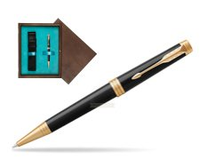 Parker Premier Black Lacquer GT Ballpoint Pen  single wooden box  Wenge Single Turquoise