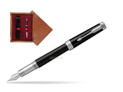 Parker Premier Black Lacquer PT Fountain Pen  single wooden box Mahogany Single Maroon