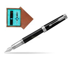Parker Premier Black Lacquer PT Fountain Pen  single wooden box  Mahogany Single Turquoise