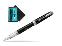 Parker Black Lacquer PT Rollerball Pen  single wooden box  Black Single Turquoise