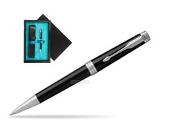 Parker Black Lacquer PT Ballpoint Pen  single wooden box  Black Single Turquoise