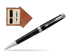 Parker Premier Black Lacquer PT Ballpoint Pen  single wooden box  Mahogany Single Ecru
