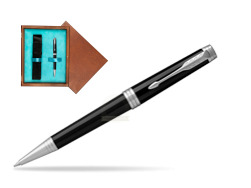 Parker Black Lacquer PT Ballpoint Pen  single wooden box  Mahogany Single Turquoise