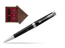 Parker Premier Black Lacquer PT Ballpoint Pen  single wooden box  Wenge Single Maroon