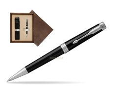 Parker Premier Black Lacquer PT Ballpoint Pen  single wooden box  Wenge Single Ecru