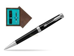 Parker Premier Black Lacquer PT Ballpoint Pen  single wooden box  Wenge Single Turquoise