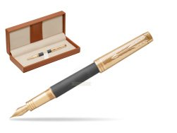 Parker Premier Custom Storm Grey GT T2016 Fountain Pen  in classic box brown