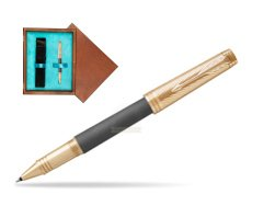 Parker Premier Custom Storm Grey GT T2016 Rollerball Pen  single wooden box  Mahogany Single Turquoise