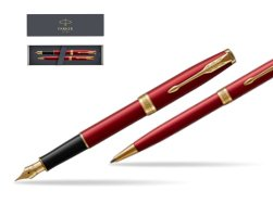 Parker Sonnet Intense Red Lacquer GT Fountain Pen + Ballpoint Pen in a Gift Box