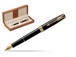 Parker Sonnet Black Lacquer GT Fountain Pen  in classic box brown