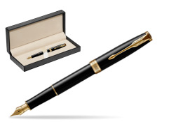 Parker Sonnet Black Lacquer GT Fountain Pen  in classic box  pure black