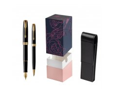 Parker Sonnet Black Lacquer GT Fountain Pen + Ballpoint Pen in a Gift Box  StandUP Roses